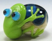 Bright Green Tree Frog on Ocean Lampwork Focal Bead by Starlight Designs
