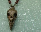 Sparrow Bird Skull Necklace With Vintage Wood Rosary