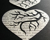 Au Coeur du Livre Wooden Block.  Original Hand Cut Paper Art by PaperCutWorks