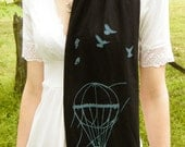 Nimbus Scarf--Black-Teal Hot Air Balloon