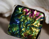 Fusion of Color Dichroic Glass Mega Chunky Ring