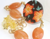 Wild Flowers Bracelet  Original Ooak Wearable Art  with Gemstones on Gold