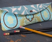 College Gal PENCIL POUCH New Shape / (Amy Butler) Duck Egg with Lovely Stems