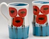 Poppy mug with Turquoise blue