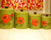 Vintage Ransbury Poppy Tin Canisters FREE SHIPPING