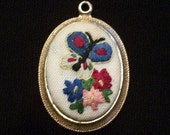 Vintage, Handmade Embriodered Butterfly Pendant. Reversable. FREE SHIPPING