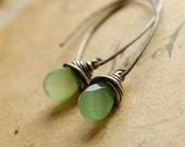 mint julep-oxidized sterling silver and glass dangle earrings