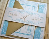 Gorgeous Wedding Invitation Suite - Milano Gold and Aqua/pale blue