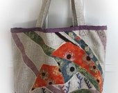 Noshi Tote Bag Linen and Vintage Silk Detail. By Kaftan.Sarafan