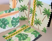 Note Cards, TROPICAL AND GREEN Theme, Handmade, Set of 4, Shipping Included