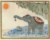 Yoga Art Elephant Painting in Sun Salutation