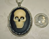 Goth Detailed SKELETON Skull Pendant LOCKET Necklace