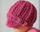 9 to  12 Month Visor Buckle Beanie - Raspberry Pink