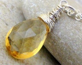 Citrine Wire Wrapped Silver Necklace