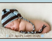 The Joshua Hat - Adorable Pixie hat in Chocolate Brown and Baby Blue - Perfect Photography Prop - Newborn
