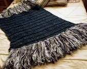 Dusky Blue, Steel Gray, White Fringe Throw Blanket, Home Accessories Interior Design Afghan Lap Warmer, 3 Feet Wide, 6 Feet Long with Thick, Textured Tassels