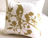 Mustard Print on Off white Blooming Blossom-Mini 10.5 Inches Square Pillow