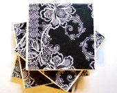 Ceramic Tile Coasters Set of Four, Classic Black and White