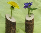 Waldorf Nature Table flower and candle holders with beeswax candles- eco-friendly- recycled wood