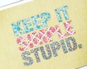 Keep it Simple - Patchwork blank postcard - Beige
