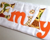 Custom Monogrammed Organic Burp Cloth in Oranges, Personalized with Your Baby's First Name
