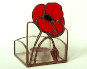 RED  POPPIES - Candle Holder - Stained Glass - Hand made