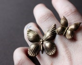 Floating Brass Butterflies Statement Ring in Oxidized Brass, Custom Size