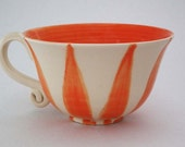 Orange Candy Stripe Ceramic Tea Cup