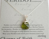 Handmade Peridot Spring Green Swarovski Crystal Diamond Cut Teardrop Sterling Silver Necklace