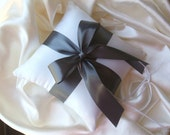 Romantic Satin Ring Bearer Pillow...You Choose the Colors. ..Buy One Get One Half Off...SHOWN IN IVORY AND DARK GREY PEWTER