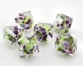African Violets.  Encased Handmade Lampwork Beads (5) SRA