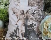 SALE ...Farmhouse Romance ..Angel and CrossGarden Statuary Pillow