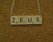 Scrabble Letters ZEUS Necklace