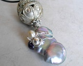 Giant Pearl, Ethnic Filagree Pendant with Gemstone, Pearl, Sterling Silver