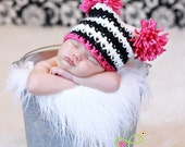 READY TO SHIP. Newborn sized sack hat in black/white stripes with pink. Newborn photo prop.
