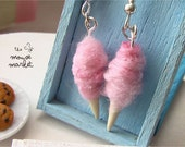 Cotton Candy Earrings in Strawberry Fields (French Hook)