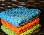 Set of 3 Washcloths - Bright Blue, Orange, and Green