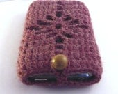 SALE - iPhone / iPod touch Crochetted Cozy  Cover -Dark Pink