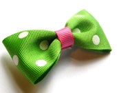 Green and Pink Polk a Dot Bow Tie Hair Clip