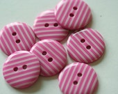 10 STRIPEY BUTTONS - CANDY PINK