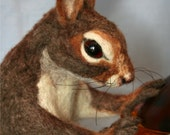 2010 Golden Teddy Award Nominee OOAK Needle felted Life Size Nutkin Mother squirrel w/Amber Glass Nut jar
