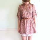 Sparrow Song 70s Floral Bohemian Printed Mini Babydoll Dress SMALL
