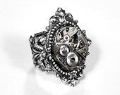 Steampunk Ring -- Neo Victorian Inspired Vintage Ruby Jeweled Watch Movement on Adjustable Silver Filigree Ring - Victorian Style Ornate Renaissance Motif Silver Setting - EXQUISITE VICTORIAN LOOK....Offered by edmdesigns