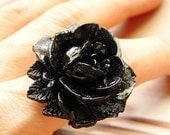 Chilled Petals - vintage black rose statement ring