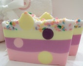SALE - Pink Sugar Polka Dotted Soap  with a Candy Sprinkled Top