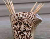 Carved Elk Antler Toothpick Holder