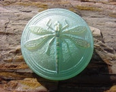Frosty Mint Mojito Metallic Shimmer Dragonfly Czech Glass Button