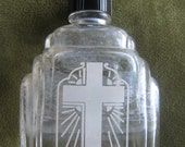Antique GLASS HOLY WATER BOTTLE Art Deco Design