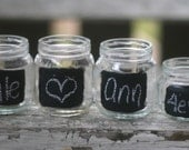 SET of 50 Wedding Place Cards Upcycled Glass Jars With Chalkboard Fronts Tea Light Candle Holder Rustic Woodland Wedding