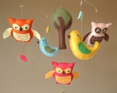 Feathered Friends Bird and Owl Baby Mobile (Custom Felt Colors Available)